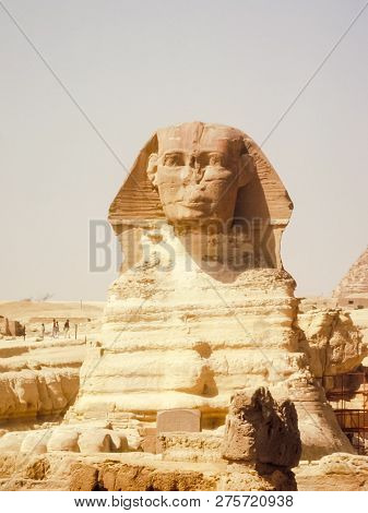 Egyptian Sphinx, Ancient Statue Of Ancient Egypt.