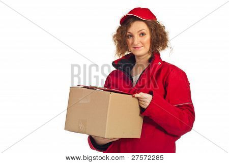 Delivery Woman Carrying Box