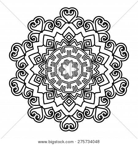 Flower Mandala Vector Illustration. Adult Coloring Page. Circular Abstract Floral Oriental Pattern,