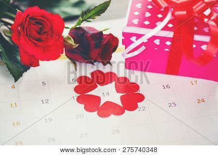 Valentines Day Calendar Love Time Concept Ed Heart On February 14 Of Saint Valentine's Day Pink Gift