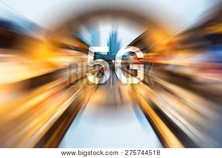 5g On A Radial Blurred Cityscape Background