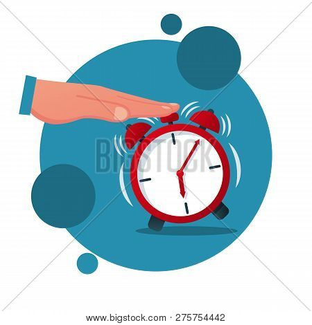 Turns Off Alarm Clock Cartoon Icon. Vector Illustration Flat Design. Isolated On White Background. M