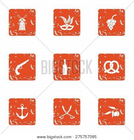 Buccaneer Icons Set. Grunge Set Of 9 Buccaneer Icons For Web Isolated On White Background