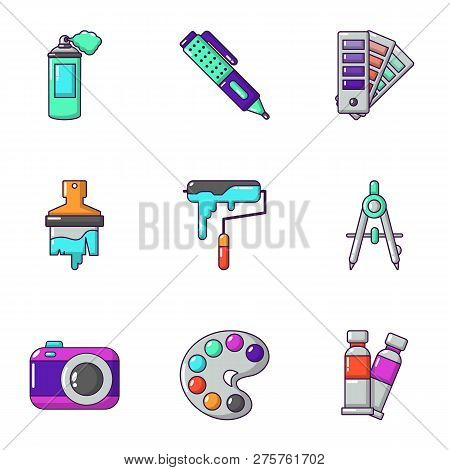 Shade Icons Set. Cartoon Set Of 9 Shade Icons For Web Isolated On White Background