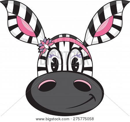Adorably Cute Cartoon Zebra Girl With Flower Hairband