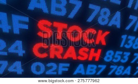 Stock crash and markets crisis concept. Economy crash and recession 3D illustration. Screen pixel style. poster
