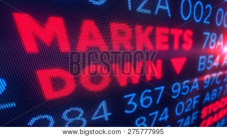 Markets down and stock crisis concept. Economy crash and recession 3D illustration. Screen pixel style. poster