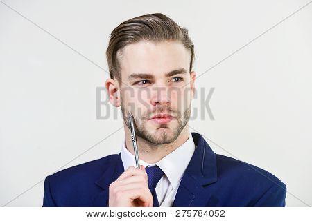 Individual Entrepreneur Business. Business Man Serious Entrepreneur. Handsome Office Worker. Make Bu