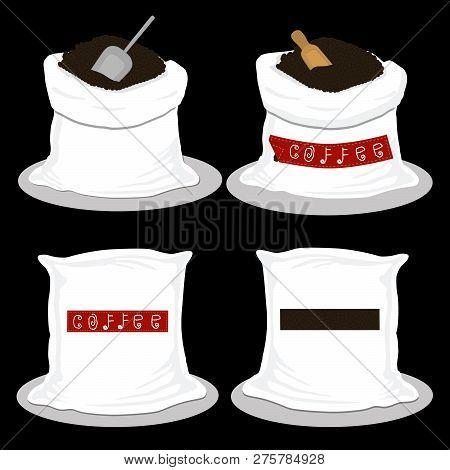 Illustration Logo On Theme Big Colored Set Different Types Sack, New Size Icon Caffeine. Caffeine Pa