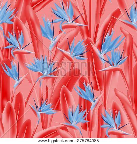 Strelitzia Reginae Tropical Flower Vector Seamless Pattern. Bohemian Tropical Plant Fabric Print Des