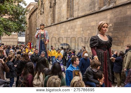 Barcelona, Spain - March 25: Traditional giants parade in Barcelona, Catalonia, Spain