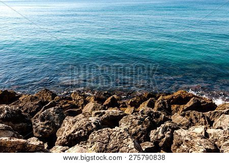Stock Picture Of Blue Ocean And Rocks