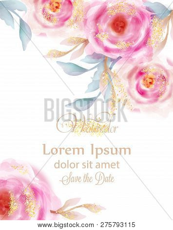 Watercolor Pink Roses With Golden Glitter Vector. Invitation Card, Wedding Ceremony, Delicate Postca