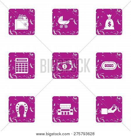 Estimation icons set. Grunge set of 9 estimation icons for web isolated on white background poster