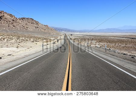 Death Valley Road - Empty Route In Mojave Desert, California.