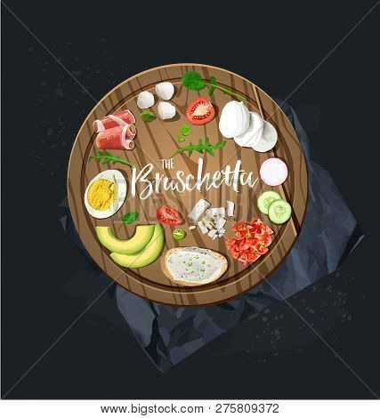 Make Your Bruschetta. All Ingredients Are Ready. Vector Graphics.