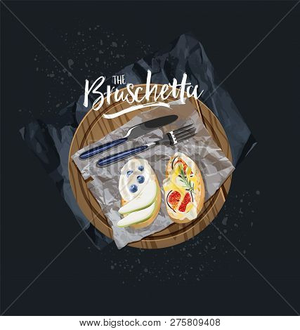 Vegetarian Bruschetta With Blueberries And Figs Are Served. Vector Graphics.