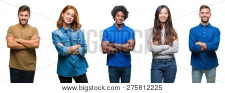 Composition of african american, hispanic and chinese group of people over isolated white background happy face smiling with crossed arms looking at the camera. Positive person.