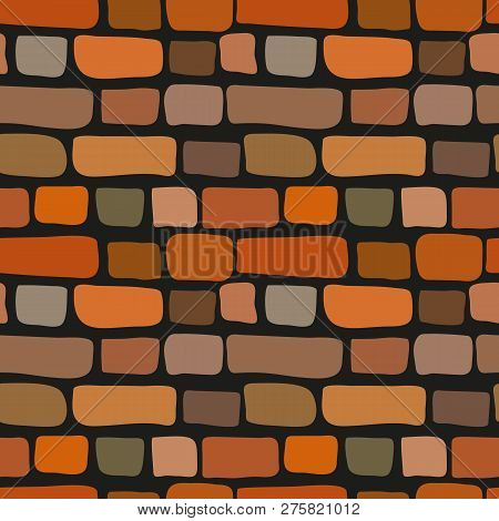 Simple Style Seamless Cute Cartoon Brick Wall Texture. Vector Red Bricks Tile. Old Stone Loft Patter