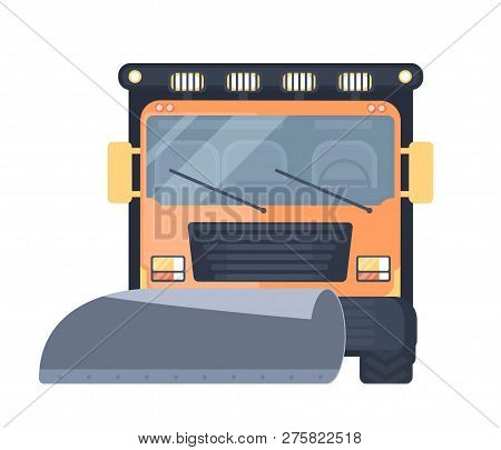 Snow Removal Truck Or Machine For Highway Service. Snow Grooming Car. Flat Vector Illustration.