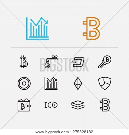 Cryptocurrency Icons Set. Stock Price And Cryptocurrency Icons With Coin Faucet, Wallet And Ethereum