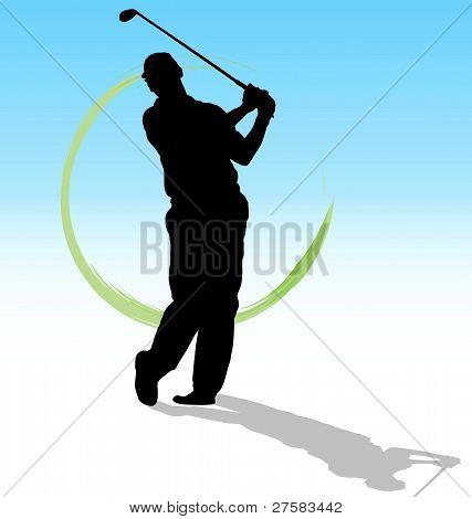 Vector silhouette of golfer with green trace on blue background.