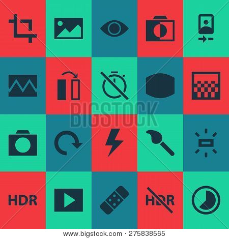 Image Icons Set With Broken Image, Camera Front, Chronometer And Other Smartphone Elements. Isolated