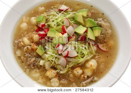 white pozole, mexican soup cuisine poster