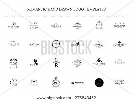 Romantic And Wedding Clipart, Feminine Logo Elements. Vector Set Of Hand Drawn Logo Templates. For B