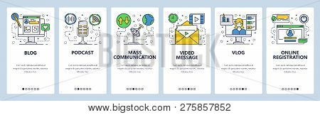 Web Site Onboarding Screens. New Online Media, Blogs, Vlogs, Podcast. Menu Vector Banner Template Fo