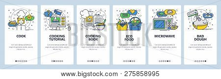 Web Site Onboarding Screens. Cooking Book And Online Recipe, Organic Food. Menu Vector Banner Templa