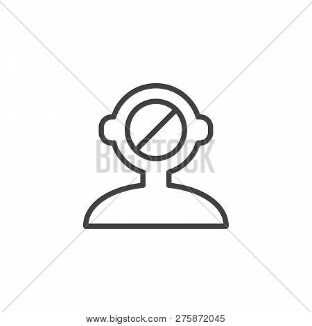 Human Mind Reject Outline Icon. Linear Style Sign For Mobile Concept And Web Design. Human Head Deni