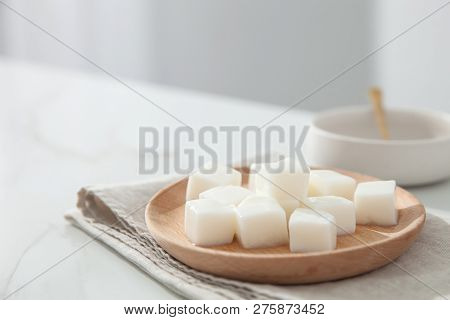 Nata De Coco In A Wood Dish