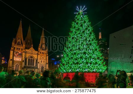 Melbourne, Australia - December 22, 2017: Illuminated Christmas Tree In Federation Square, A Large P