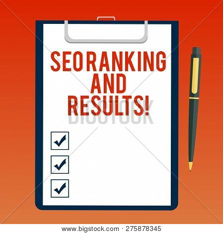Handwriting Text Writing Seo Ranking And Results. Concept Meaning Search Engine Optimization Statist