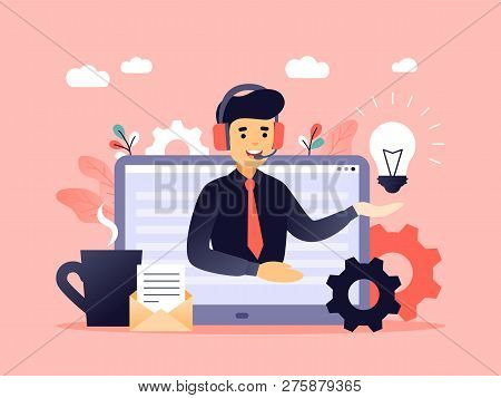 Concept Customer And Operator, Online Technical Support 24-7 For Web Page. Vector Illustration Male