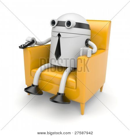 Robot businessman is resting and watching something