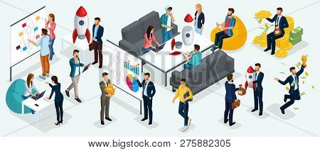 Isometric People, Entrepreneurs Present A New Startup Project Business Plan, Development Of Investme