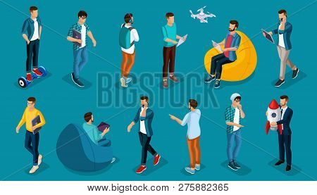 Trendy Isometric Vector People, 3d Person Teenagers, Modern Young People And Gadgets, Freelancers, S