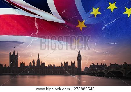 No Deal Brexit Concept Image Of Cracks Over Image Of London With Uk And Eu Flags In Image