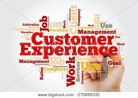 Customer Experience Word Cloud With Marker, Business Concept Background