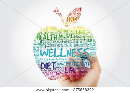 Wellness Apple Word Cloud With Marker, Health Concept Background