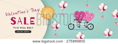 Valentines Day Sale, Advertising Banner With Funny Cartoon Hearts, Vector Illustration