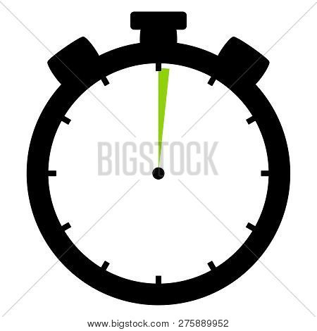 Isolated Stopwatch Icon Black Green Shows 1 Second Or 1 Minute