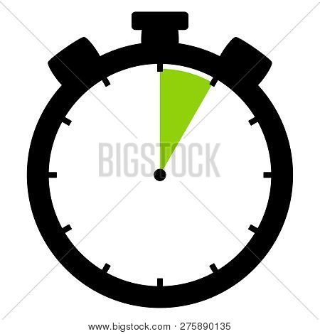 Isolated Stopwatch Icon Black Green Shows 5 Seconds 5 Minutes Or 1 Hour