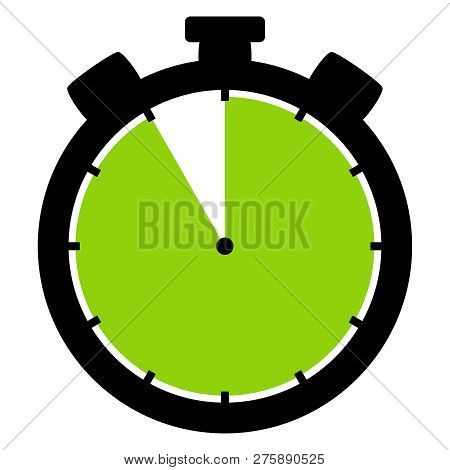 Isolated Stopwatch Icon Black Green Shows 55 Seconds 55 Minutes Or 11 Hours