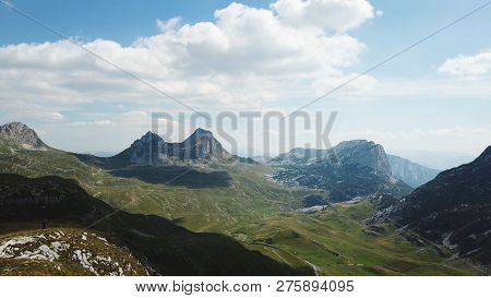 Top View Of Mountain Panorama. Stock. Sunny Day With Clouds In Mountains. Exciting Landscape Of Moun