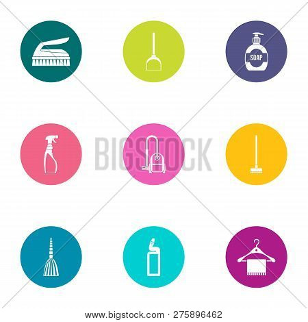 Cleaning Staff Icons Set. Flat Set Of 9 Cleaning Staff Icons For Web Isolated On White Background