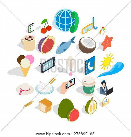 Luncheon Icons Set. Isometric Set Of 25 Luncheon Icons For Web Isolated On White Background
