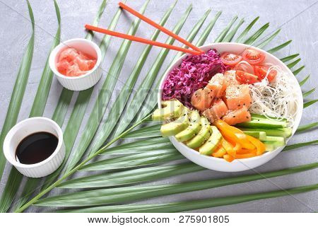Fresh Seafood Recipe. Organic Food. Fresh Salmon Poke Bowl With Crystal Noodles, Fresh Red Cabbage,